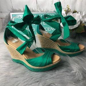 Ugh Lucianna Wedges Emerald Green Sz 9 GUC